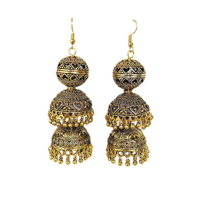 Original India Middle East Birdcage Earrings. Handmade Ancient Large Birdcage Hippie Tribal Jewelry Golden India, Egypt Thailan