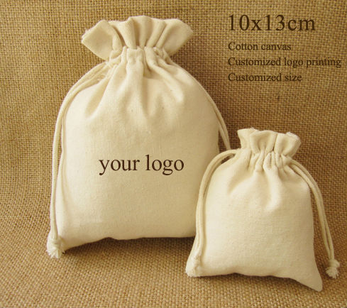 Canvas Drawstring Bag Cotton Pouch Jewelry/Package/Cosmetic/Gift/Wedding/Party/Wig/Shoe/Organize Sachet Custom Logo Print 10PCS