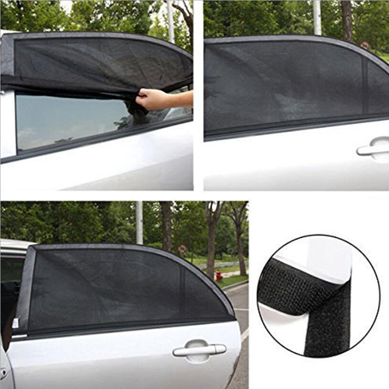 2Pcs Car Sun Shade UV Protection Car Curtain Car Window Sunshade Side Window Mesh Sun Visor Summer Protection Window Film(China)