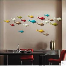 European 3D resin fish wall hanging TV background wall murals home interior creative wall stickers decorative crafts simulation