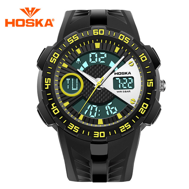 Fashion LED Digital Military Sports Watch Student Digital Analog Dual Display Chronograph Luminous Wrist Watch 2016 New Arrivals
