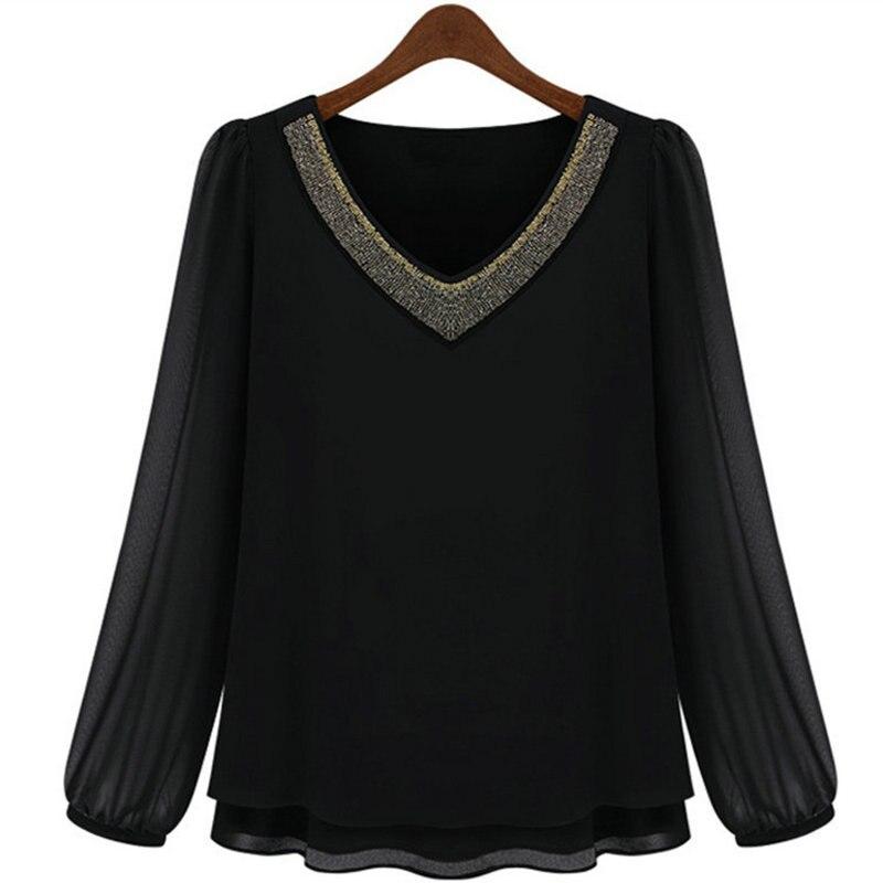 Nouveau décontracté femmes col en v Blouse été lâche à manches longues coton chemise Blouse dames t-Shirt décontracté Top S-5XL