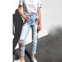 Women Vintage flower Embroidery Demin Pants Skinny RippedJeans Ankle-length pants Casual Straight Jeans Plus size