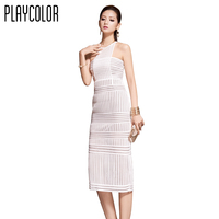 PLAYCOLOR White Cocktail Dresses Knee Length Sexy Evening Party Club Dress Sleeveless Straight Prom Dresses 2017