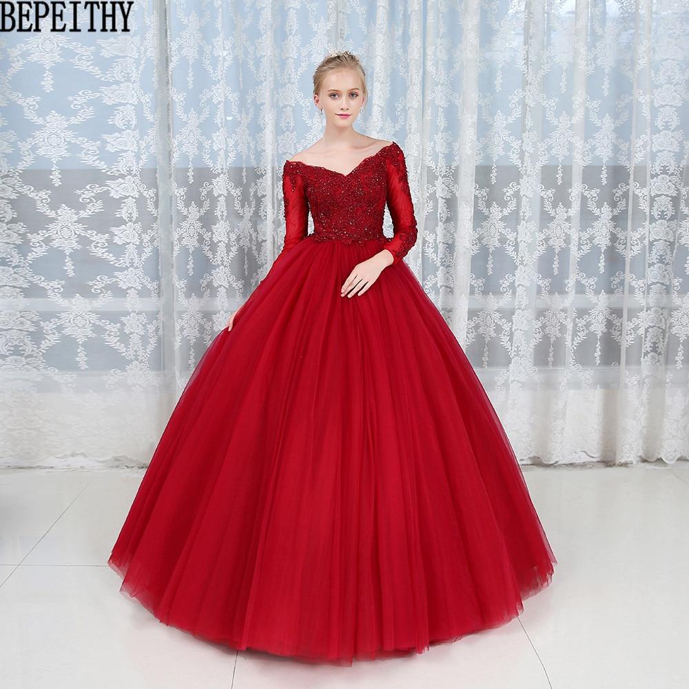 BEPEITHY Fantastic Long Sleeve Burgundy Ball Gown Evening Dress V-Neck Vestido De Festa Longo Tulle Lace Evening Dresses 2019