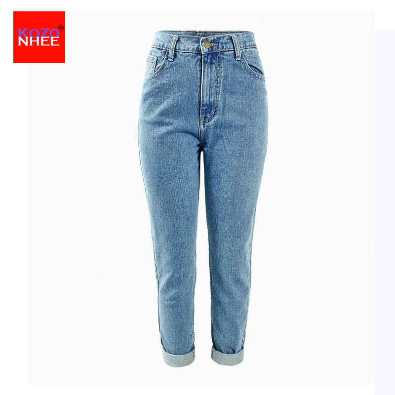 2017 Loose Women Women`s Plus Size High Waist Washed Light Blue True Denim Pants Boyfriend   Jean   Femme For Women   Jeans