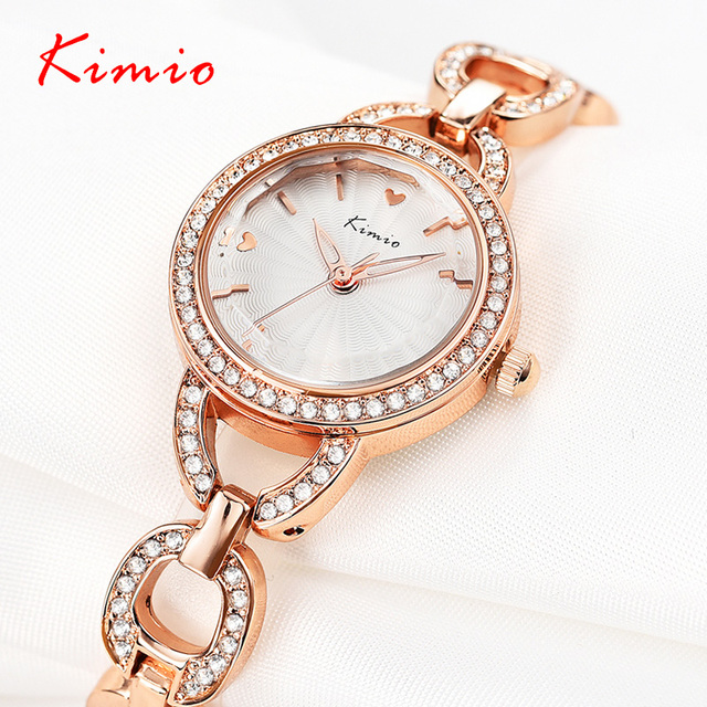 Kimio Fashion Diamond Gold Watch Luxury Brand Ladies Bracelet Watches Women Wris