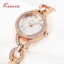 KIMIO мода diamond золотые часы Элитный бренд дамы часы браслет Для женщин наручные часы Аналоговые Дисплей кварц-часы Reloj Mujer