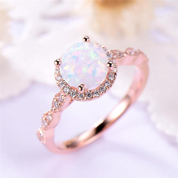 Dainty Round Fire Opal Rings for Women  2