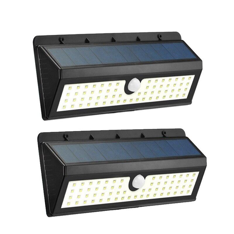 QTY2 PIR Solar Motion Sensing Security Garden Path Wall Fence Light 16 LED