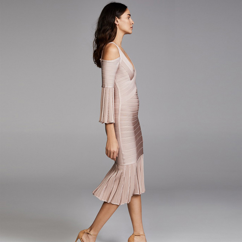a7e5c7acac5360 Frauen Neueste Beige Elegante Verband Vestidos Kleid Casual Flare Langarm  Kleider Mode Großhandel Midi Outfit Party Sommer FFwqa8