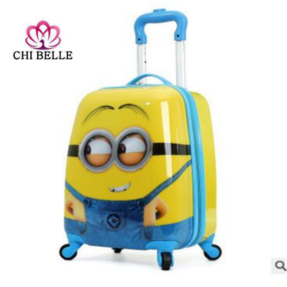 16-inch small yellow people pull rod box children universal wheel suitcases boy girl hand pushing box cartoon luggage