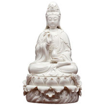 12 Inch Lotus Guanyin Bodhisattva Buddha Furnishing Articles Dehua Porcelain Goddess of White Arts and Craft