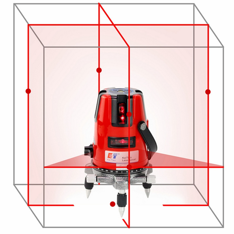 цена на KaiTian Laser Level 5 Lines 6 Points Self-Leveling 360 Rotary Horizontal 635nm Vertical Red Lasers Beam Cross Lazer Level Tool