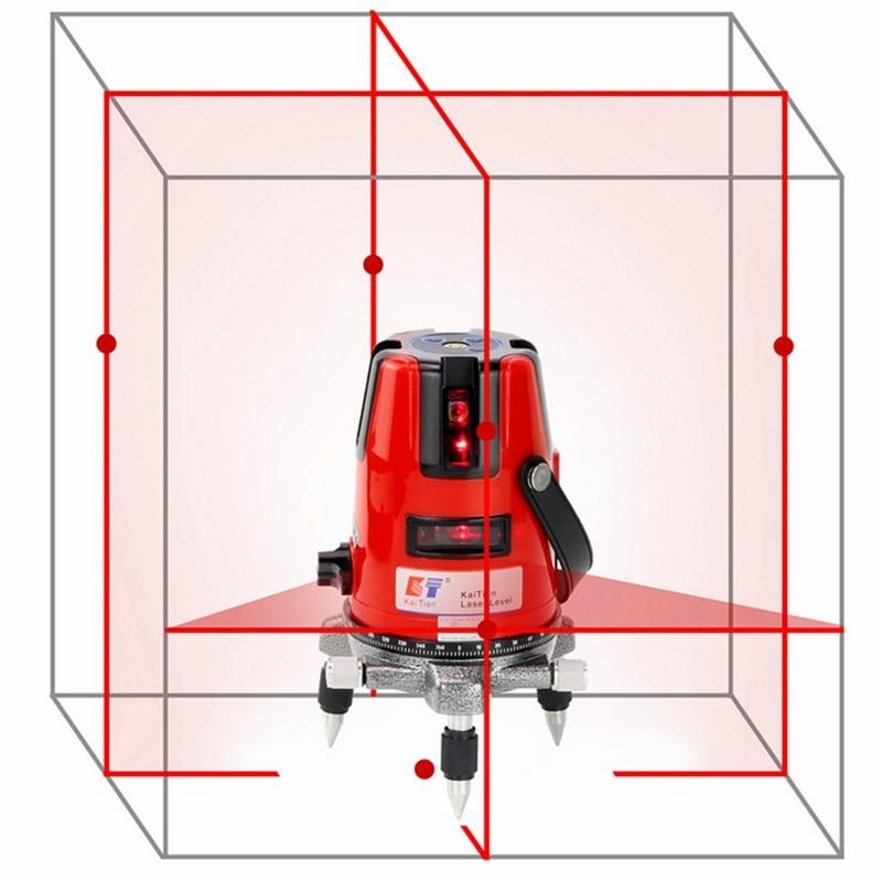 KaiTian nivel láser de 5 líneas 6 puntos de nivelación automática 360 Rotary Horizontal 635nm Vertical rojo láser haz cruz láser herramienta de nivel