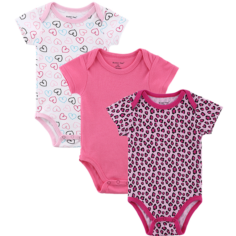 3 Pieceslot Baby Romper Girl and Boy Short Sleeve Leopard Print Summer Clothing Set for Newborn Next Jumpsuits & Rompers (7)