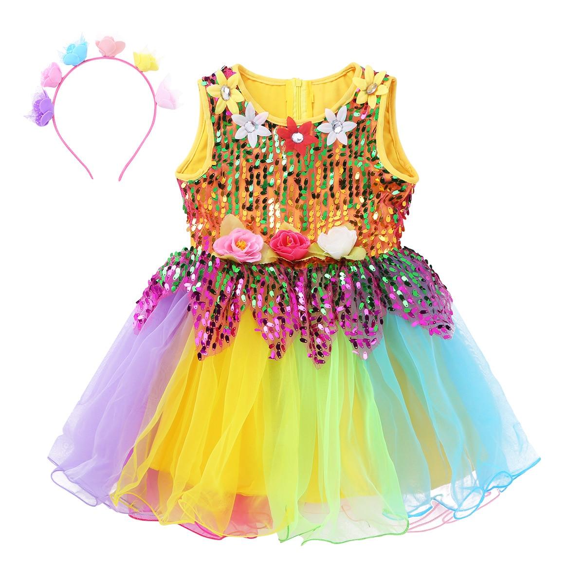 Детское фатиновое балетное платье без рукавов с блестками для девочек платье для латинских танцев с цветами и радугой Одежда для девочек сценическое платье
