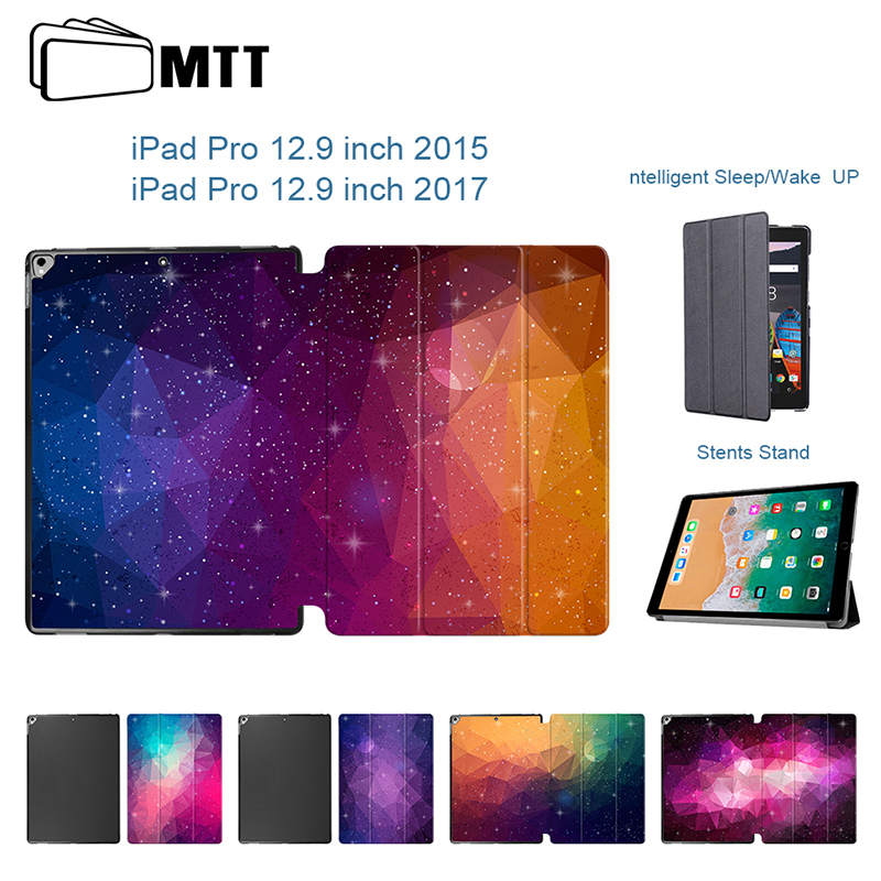 Colorful Polygon Leather Smart Case For Apple iPad Pro 12.9 inch cover for 12.9 ipad pro 2017 case Tablet Protector Stand Cover case for ipad pro 12 9 cases leather protective shell skin for apple ipad pro 12 9 inch tablet case smart cover protector sleeve