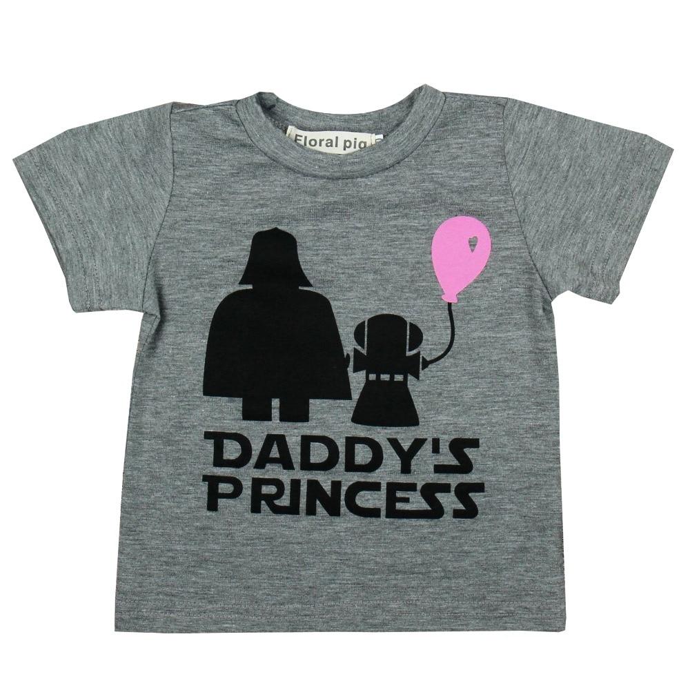 Baby Girl Outfits Summer Daddy's Princess Print T Shirt Star Wars Pattern Baby Girl Kids T-shirt Girl Clothing