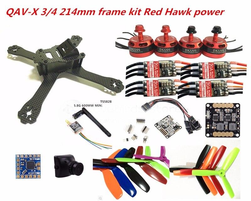 DIY FPV mini drone QAV-X 214mm pure carbon frame kit Red hawk DX2205+Red Hawk BL20A ESC OPTO + NAZE32 Rev6 10DOF + 700TVL camera diy mini drone fpv race nighthawk 250 qav280 quadcopter pure carbon frame kit naze32 10dof emax mt2206ii kv1900 run with 4s