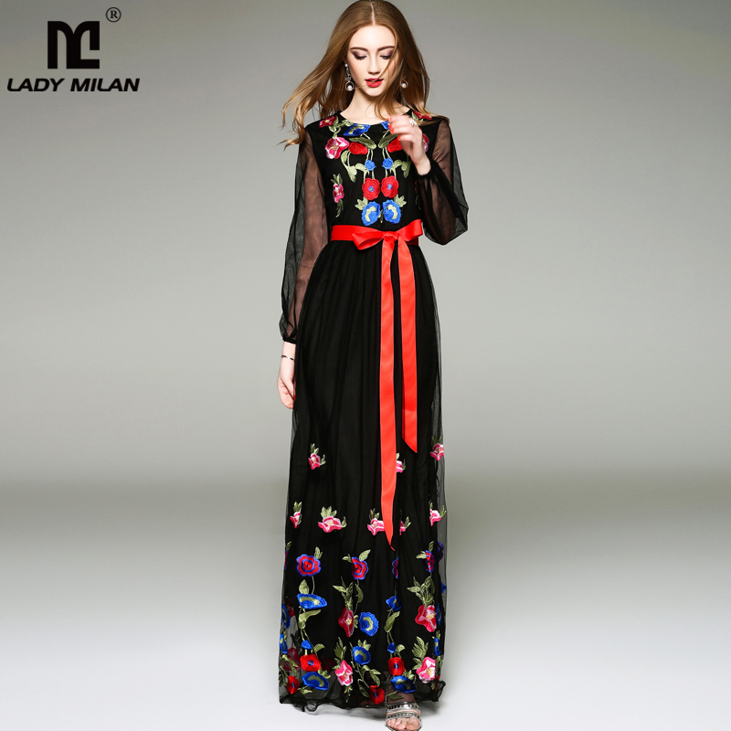 Luxusní New Arrival 2019 Jarní letní dámské ženské oko na rukávech s dlouhými lucernami Slevy na květinové vyšívání na krk Elegantní Maxi Runway Dress