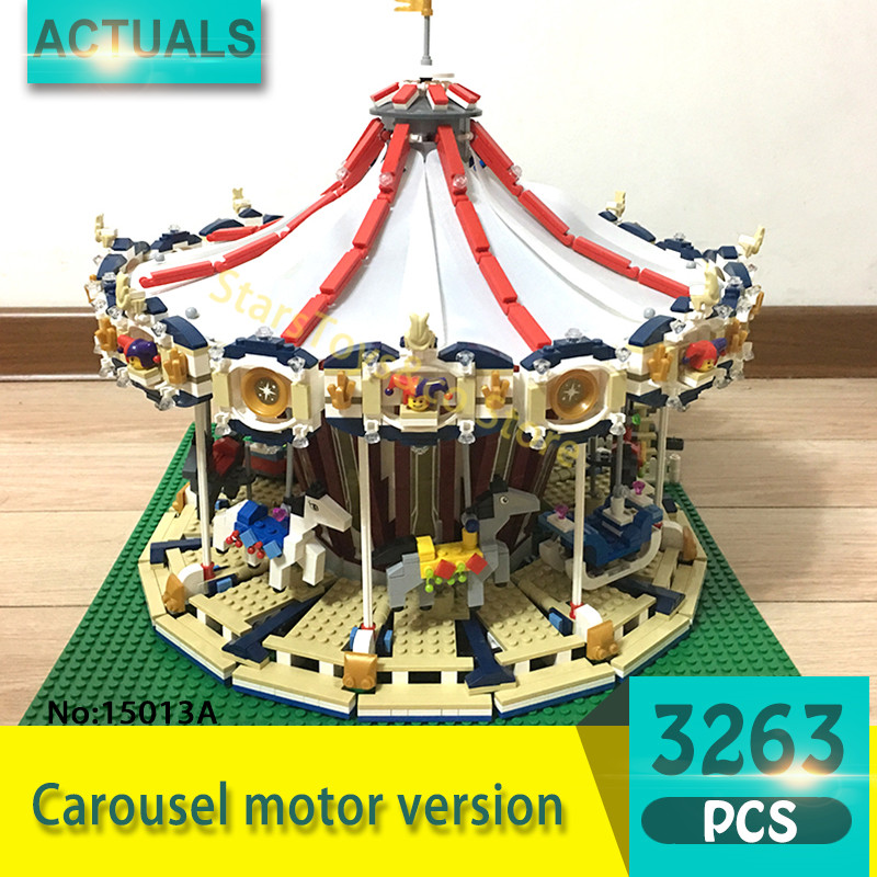 Lepin 15013A 3263Pcs Street View series Carousel motor version Model Building Blocks Set  Bricks Toys For Children Gift 10196 lepin 15013 city sreet carousel model building kits blocks toy compatible 10196 with funny children educational lovely gift toys