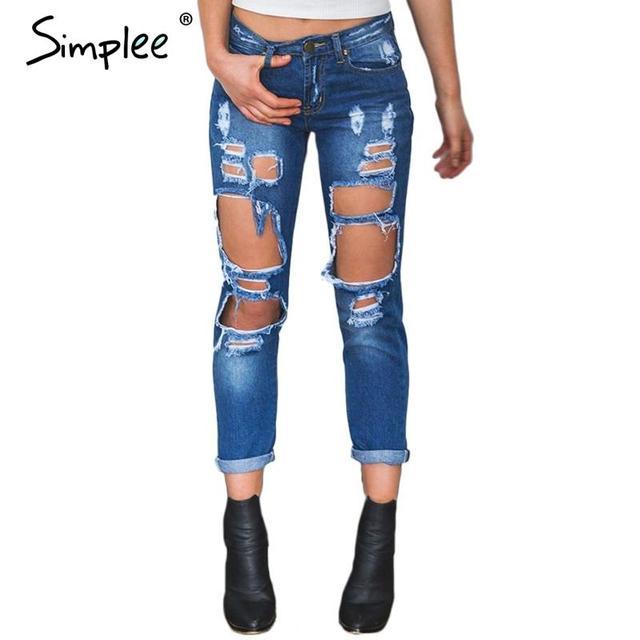 Simplee Ropa Novio agujero rasgado vaqueros mujeres Refrescan los pantalones de mezclilla vaqueros rectos de la vendimia para la muchacha pantalones casuales Mediados de cintura femenina