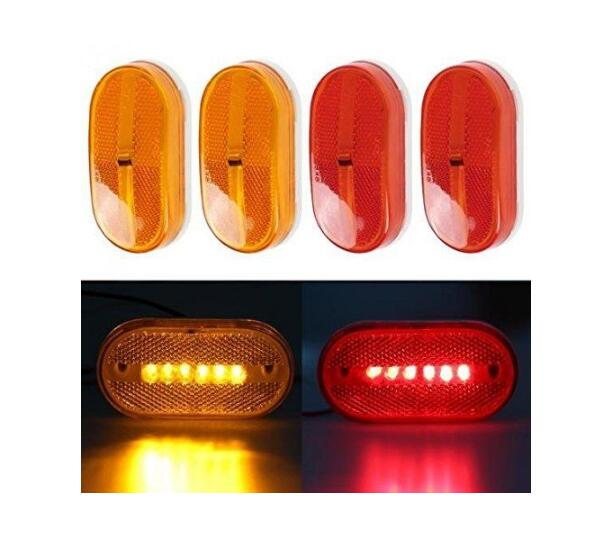 2 Red + 2 Amber 6 LED Rectangle Clearance 12V Side Marker Lights Trailer  Camper Car Styling In Car Light Assembly From Automobiles U0026 Motorcycles On  ...