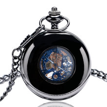 2017 Luxury Black Smooth Mechancial Hand Wind Pocket Watches Hollow Blue Roman Number Skleton Carving Fob Clock Gift