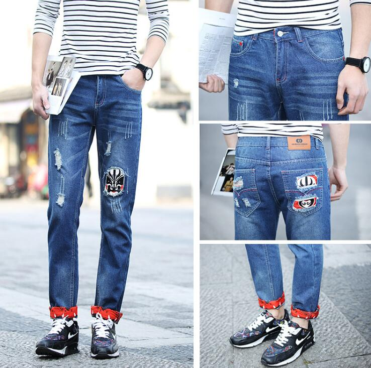 new arrival mens jeans Japanese style fashion Holes yung man pants Facebook printing large size men jeans Tide card men pants