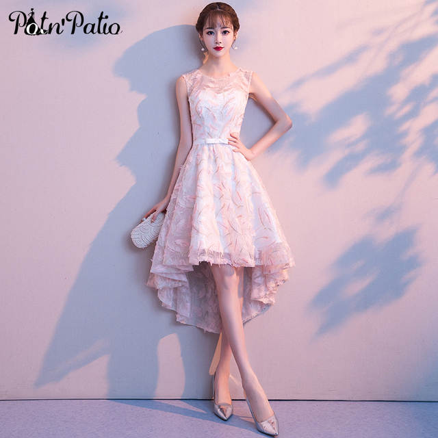 Elegant Pink High Low Prom Dresses Sexy Sleeveless Transparent