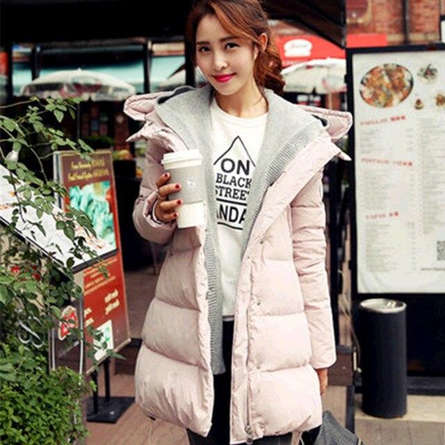 Espesar invierno maternidad clothing moda largo con capucha mujer abrigo de piel de pato abajo chaqueta de maternidad calidad grossesse manteau casaco