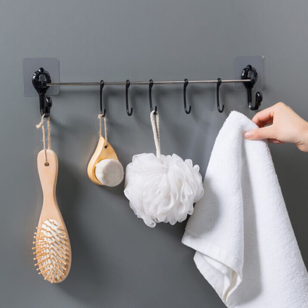 Self-adhesive Coat Wall Hanging Rack Bathroom Kitchen Storage Hooks Clothes Hanging Rack Holder Hooks for Bags Towel