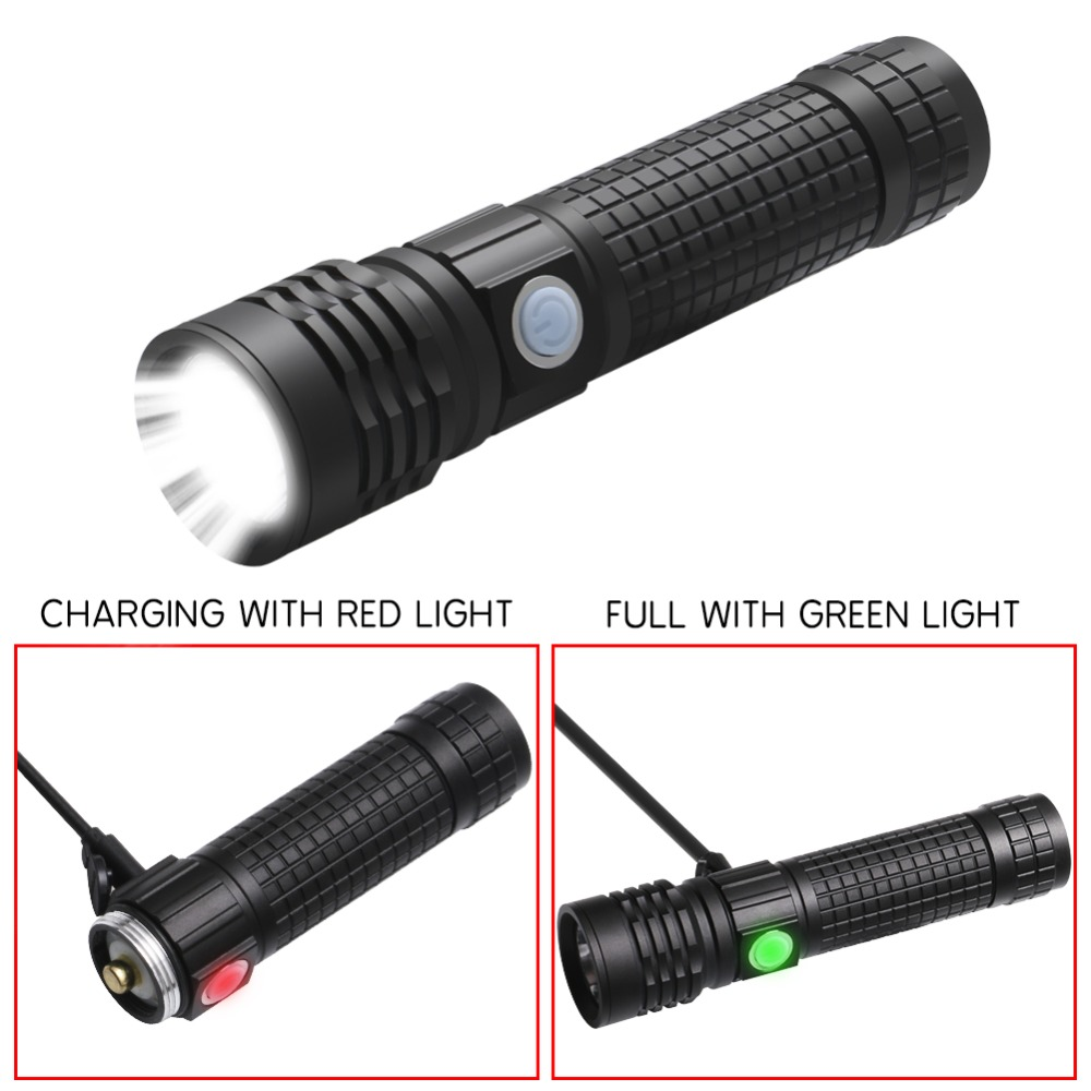 PANYUE Multi Functional XML T6 LED Flashlight USB Flashlight 18650 Zoomable Flash Light for bike COB Work Light in LED Flashlights from Lights Lighting