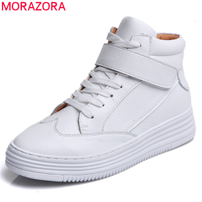 MORAZORA 2018 fashion spring autumn flat shoes woman round toe lace up casual women genuine leather shoes size 34-40 flats morazora spring autumn genuine leather flat shoes woman round toe platform fashion casual slip on women flats gold