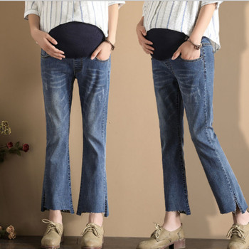 2019 spring new pregnant women jeans loose large size stomach lift nine points long pants fashion bell