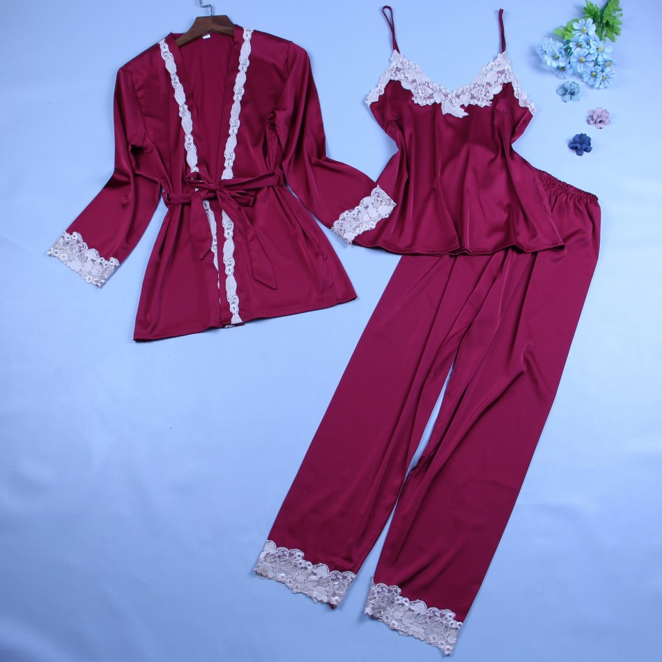 MECHCITIZ 2019 Three Piece Female Sexy Silk Pajamas Set Robe Sling Pajamas  Long Sleeve Pants Women Nightgown 6 Color Sleepwear-in Pajama Sets from  Underwear ... 9fb16043c