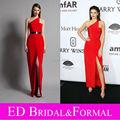 Кендалл дженнер одно плечо атлас высокая разрез красный пром платье amfAR нью-йорк гала знаменитости официальный вечернее платье