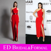 Kendall Jenner One Shoulder Satin Höhe Aufgeschlitzte Red Abendkleid 2015 amfAR New York Gala Promi Formale Abendkleid