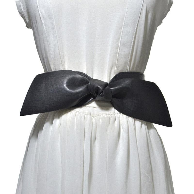 Women Bowknot Decoration Elastic Girdle Belt Wild Wide Imitation Leather Waist Belts New