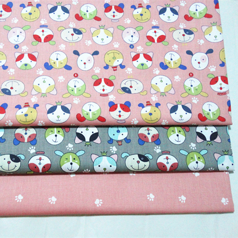 half meter cartoon dog print 100% cotton twill fabric infant bedding cloth children bed sheet bed sack tissue A543