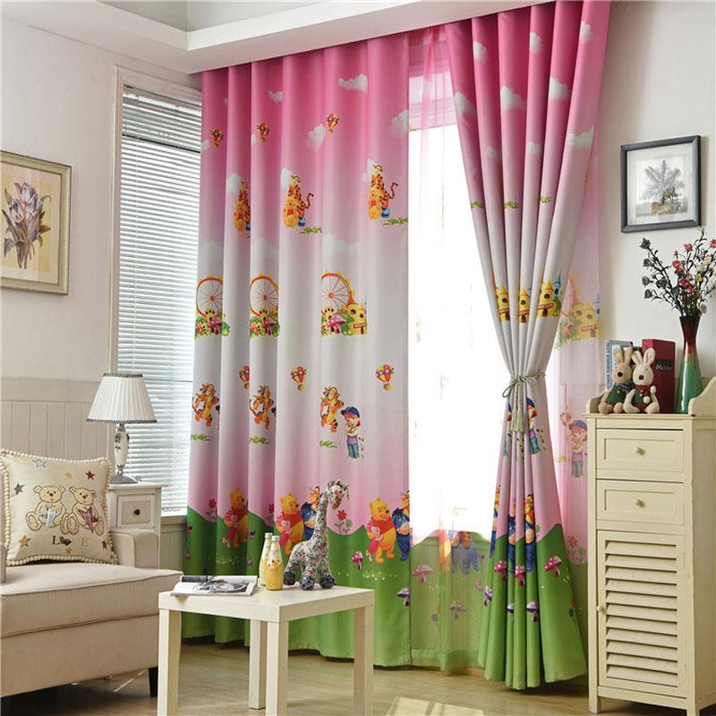Cute Cartoon Bear Pink Curtains For Living Room Blackout Children Blue Curtain Fabric