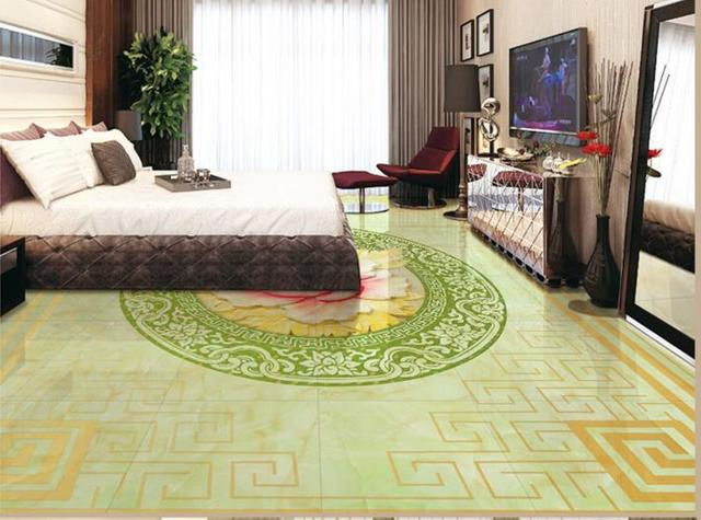 custom 3d floor bathroom jade relief 3d wallpaper living room 3d floor tiles wallpaper self - Green Tiles For Living Room Floor