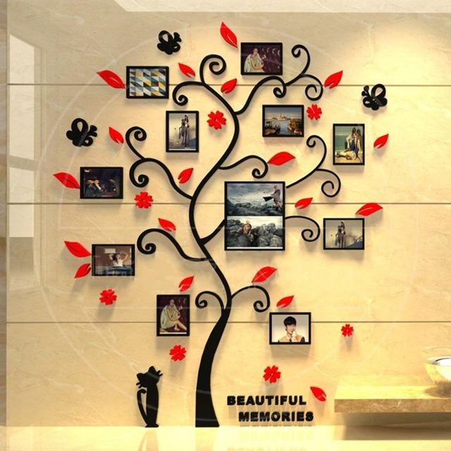 3D Acrylic Photo Frame Tree Wall Sticker Living Room Bedroom Wall Decals Poster DIY Family Home Decoration WallpaperHot