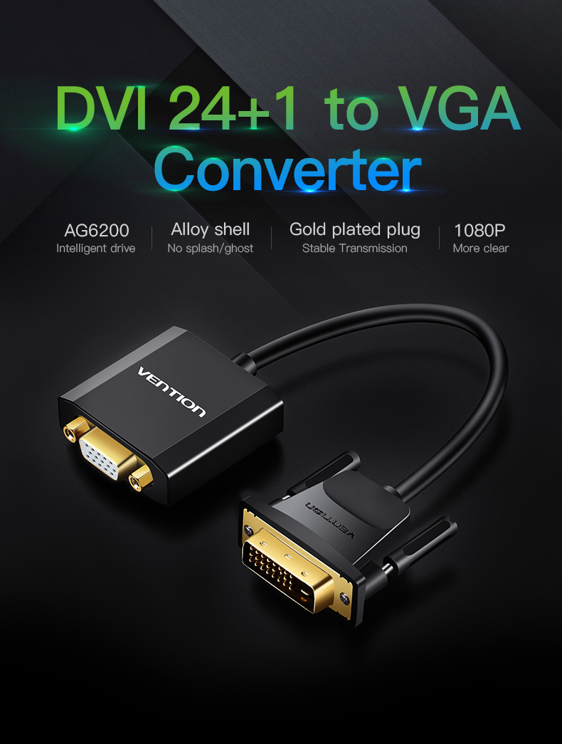 Vention Dvi D To Vga Adapter 24 1 Converter Cable Digital P560 15m Silver Kabel Aux 35mm Male 2 Rca Eba 01