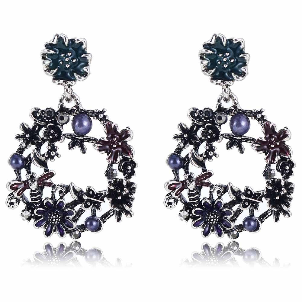 Yayi Purple Beads Black Rhinestone Earring Women's Fashion Ancient Silver  Earrings Gems Flower Earrings For Women