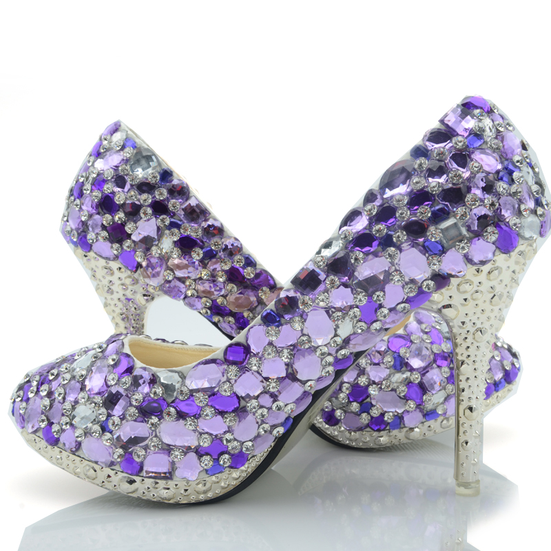 2016 Luxurious Rhinestone 10cm Heel Bridal Dress Shoes Wedding Real Pictures Banquet Pumps Prom Party Heels Purple Crystal Shoes beautiful fashion blue wedding shoes for woman rhinestone bridal dress shoes lady high heel luxurious party prom shoes