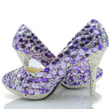 2016 Luxurious Rhinestone 10cm Heel Bridal Dress Shoes Wedding Real Pictures Banquet Pumps Prom Party Heels Purple Crystal Shoes