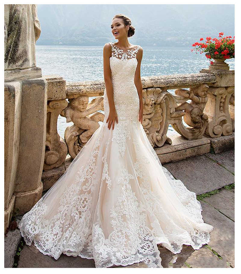 Sleeveless Double Shoulder Neck Appliqued Lace Wedding Dresses 2019 Mermaid/Trumpet Train Illusion Bridal Gown Dress White