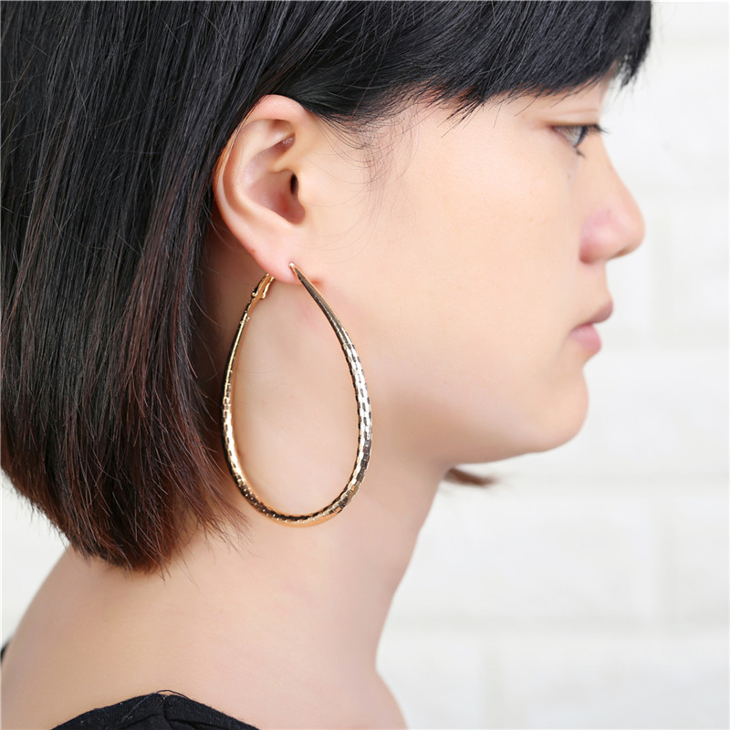 Square metal stripes Big Gold/Silver Hoop Earrings Basketball Brincos Round Silver Large Circle Party Earrings for Women 2016
